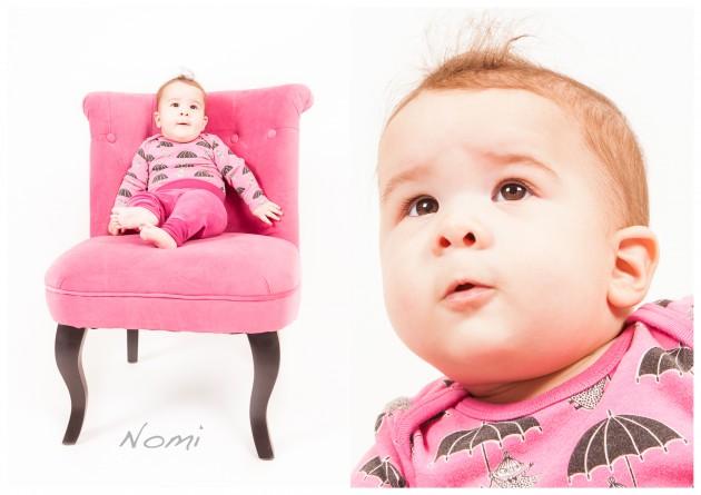 barnfotografering Nomi rosa prinsessa fotölj bebis barn