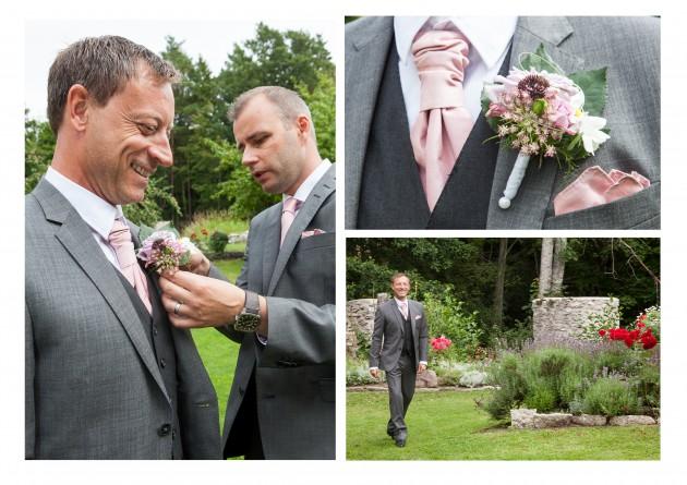bröllop magnus marina bestman brudgum koursage blommor Ihre kvarn