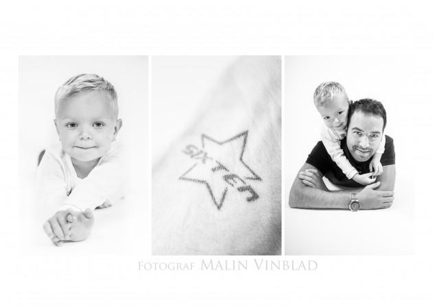tatuering barnfotografering pappa kram svartvitt pojke Sixten triptyk