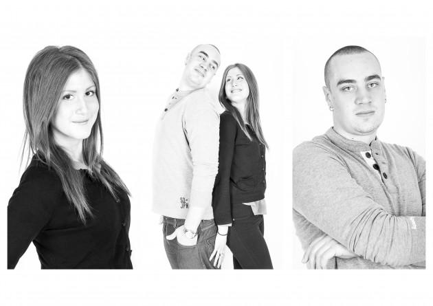 Yasmine och Alex svartvitt porträtt kärlek glädje fotografering fotograf Malin Vinblad Gotland studio
